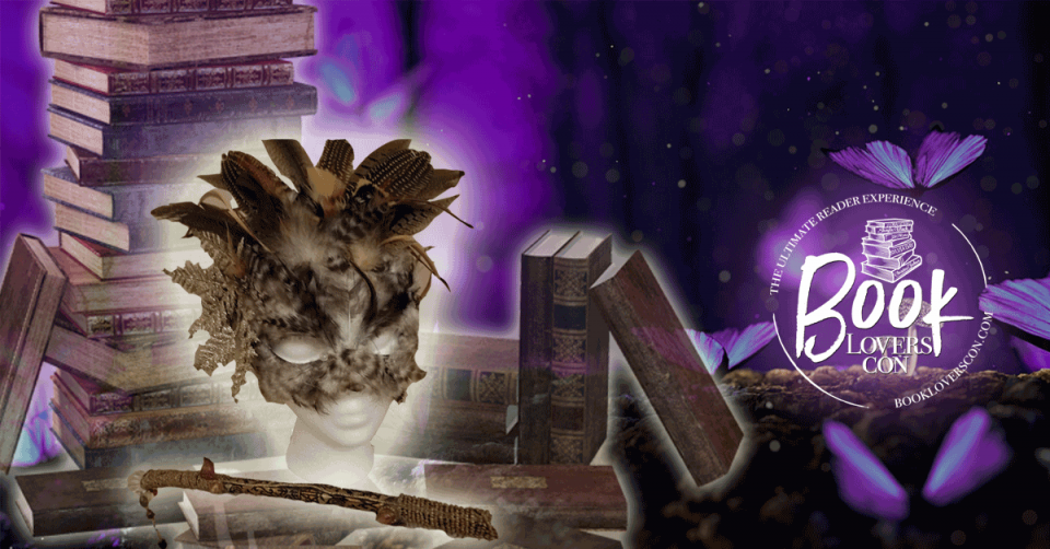 A brown, feathered mask sits atop a pile of purple books in the wood. It's night time and bright, luminescent purple butterflies are fluttering around.